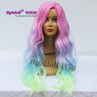 Wholesale Mermaid Body - Hot Sale Colorful Mermaid Unicorn Hair Wig Synthetic Black Chyna Side Part Saclp Wig Halloween Patel Color Hair Cosplay Party Wigs
