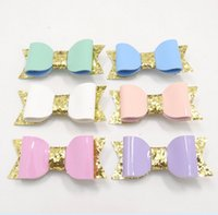 Wholesale pink gold hair accessories online - Boutique Hair accessories leather Gold sequins Barrettes Bow Hair clips baby gifts Fashion Hotsale European Pink