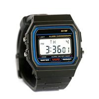Wholesale Thin Purple Square Watch - fashion f-91w watches discount Candy Child f 91 watch thin LED watch alarm clocks 91w