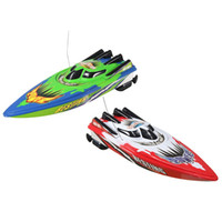 Wholesale Remote Controlled Boat Red - Wholesale- Hot Sale Red Green Plastic Durable Remote Control Twin Motor High Speed Racing RC Boat Toy RC Toys