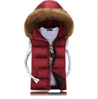 Wholesale Down Vest Fur Collar - Wholesale- Autumn and winter down cotton vest male slim thickening vests men's clothing hooded outerwear Artificial Fur Collar