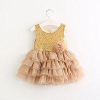 Wholesale Heart Tulle - Girls princess dress 2017 children lace flowers sequins tulle tutu dresses girls back love heart tulle dress kids champagne party dressA0277
