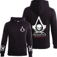 Wholesale Mens Fleece Lined Jackets - Wholesale- 2016 Autumn Winter Assasins Creed Hoodie Men Black Cosplay Sweatshirt Costume Fleece Lined Assassins Creed Mens Hoodies Jackets
