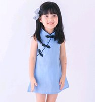 Wholesale Girls Simple Cotton Dresses - Chinese Style Girls Mini Dress Kids Clothing Summer Simple Blouse Dress Baby Cheongsam Qipao Red Color Pink Blue On Sale