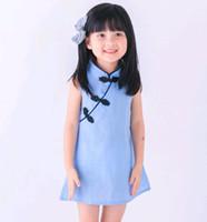 blusa vermelha sem mangas venda por atacado-Estilo chinês Meninas Mini Vestido Crianças Roupas de Verão Simples Vestido Blusa Bebê Cheongsam Qipao Cor Vermelha Rosa Azul Na Venda