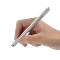 çinko alaşım dövme makinesi toptan satış-Manuel Çift kafalı Kalıcı Kaş Dövme Kalem Çinko Alaşım Işlemeli Kaş Makyaj Dövme Makinesi Microblading Kalem Kalem
