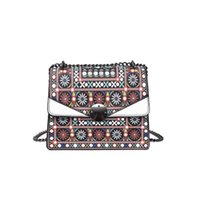 Barato Mochilas Oblíquas-Cross Body Bags Mulheres National Wind Printing Handbags Atacado Early Summer Personality Single Shoulder Oblique Tide Backpack Bag