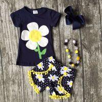 Wholesale Girl Accessories Bulk - wholesale bulk summer a lot cotton girls kids sun flower yellow navy shorts sets baby ruffles boutique match with accessories