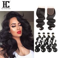 Wholesale Top Brazillian Hair Weave - HC Hair Brazilian Body Wave Virgin Human Hair Weave 4 Bundles With Lace Closure Unprocessed Brazillian Remy Hair And Top Closures