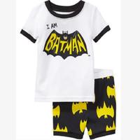 Wholesale Sets Boy Sport - White Batman Boys Clothes Sets Kids Sport Suit Fashion Cotton Children Pajamas T-Shirt Short Pants Bottom Clothing Girl Tees