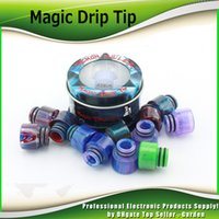 Wholesale E Cigarette Tips Dhl - Demon Killer Magic Drip Tip 510 Epoxy Resin Drip Tips Wide Bore Stainless Steel Mouthpiece Colorful High quality E Cigarette DHL Free