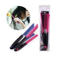 Wholesale Keratin Straightener - Fashion V Type Hair Straightener Comb DIY Folding Hairdressing Salon Styling Brazilian Keratin Treatment Grip Hair Brushes ZA2514