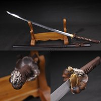 Wholesale Katana Sharp Clay - Free shipping Full Handmade T10 Clay Tempered Samurai Sword Katana Sharp Edge Real Fish Leather Tsuka