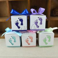 Wholesale Girls Baptism Gifts - 50Pcs set Cute Baby Shower Candy Box Boy and Girl Footprint Kids Baptism Favors Gift Birthday Event Party Supplies Decoration