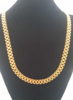 Wholesale nobles chains - Super Noble Men's 316L Stainless Steel RAOLEX Style 18K Gold PVD Plating Band Link Necklace