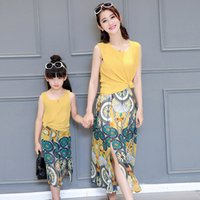Wholesale Girls Peacock Skirt - Family Dress Sets Peacock Mum Girl Chiffon Dress Sleeveless Tops + Long Skirt Dresses 2pcs Set Mother And Daughter Party Dressy yellow A6042