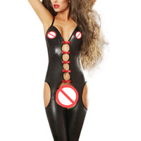 Wholesale Lingerie Costume Sale - Plus Size Catsuit Sexy Bodysuit Costume Hot Sale Black Faux Leather Women Sexy Lingerie Spaghetti Strap Cut Out Erotic Lingerie W850476