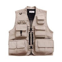 Venda por atacado - New Arrival Men Vest Multi-Pocket Waistcoats Breathable Mesh Photography Vest Men Reporter Jacket Travel Vest