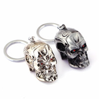 Wholesale Key Rings Male - Movie The Terminator Metal 3D Skull Keychain for Male Best Friends Chaveiro Key Ring Porta Porte Clef Anillas Llavero