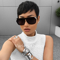 Wholesale rihanna chinese hair for sale - Group buy Top Quality Rihanna Hairstyle Human Hair Wig Straight Short Pixie Cut Wigs For Black Women Full Lace Front Bob Human Hair Wigs