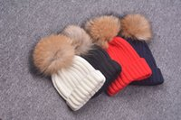 Wholesale Wholesale Cuffed Beanies - Women ladies girls rib knitted winter hat with turn cuff&large real genuine raccoon fur pom 15cm in 10 colors UPS TNT free shipping(M0030)