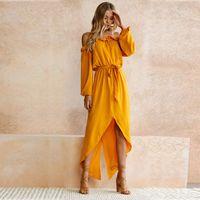 Wholesale Strapless Cotton Long Dresses Women - Yellow Asymmetrical Sexy Off Shoulder Long Dress Women 2017 Autumn Beach Casual Strapless Ladies Maxi High Waist Dress Cotton