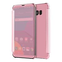 nota protector de pantalla espejo al por mayor-Para Samsung S8 Plus Electroplate Chapado en cuero Case Clear Smart Mirror View Protector de la pantalla Flip Cover para Samsung S8 S7 Note 5