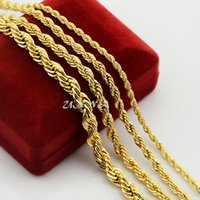 Wholesale 7mm rope chain - Wholesale- 3mm 4mm 5mm 7mm Classic Rope Necklace For Men Women Boys Girls Yellow Gold Color Filled Twisted Link Chains Long Jewelry