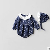 Wholesale Baby Autum - Infant cotton romper with hat full stars printed falbala collar romper for baby girls autum jumpsuits Newborn kids autumn clothing T0082