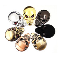 7 cores 3D Cool Car styling Metal Skull Skeleton Devil 3D Chrome Auto Emblem Badge Decal Motorcycle Car Stickers Accessories