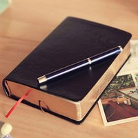 Wholesale Random Books - Wholesale- 1pc Vintage Thick Paper Notebook Notepad Leather Bible Diary Book Zakka Journals Agenda Planner Random color