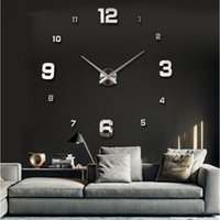 Wholesale Wholesale Quartz Wall Clock - Wholesale-promotion 2016 new home decor large roman mirror fashion diy modern Quartz clocks living room 3d wall clock watch free shipping