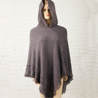 Wholesale Ladies Coats Wholesalers - Wholesale- New Hot Tassel Lady Knitted Poncho Irregularity Sweep Hooded Coat Women Batwing Sleeve Sweater Outwear