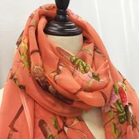 Wholesale Chiffon Dress Long Scarf - 100% natural silk scarf orange fabric casual lady beach long section shawl embroidery chiffon scarf dress free shipping