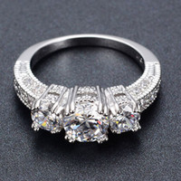 Wholesale Female Engagement Rings - Silver Crystal Ring Female Anelli Bijoux Anillos Wedding Engagement Rings For Women Anel Jewelry