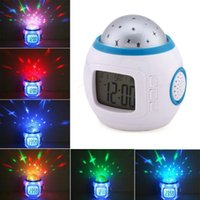 "Wholesale Mini Clock Gift - Sky Star Night Light Projector Lamp Alarm Clock W music 10.3x10.3cm(4""x4"") Bed Lazy Digital Alarm Clock Creative Mini Children's Gifts"