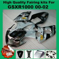 Wholesale Gsxr Grey - 9Gifts Injection fairing kit for GSXR1000 2000 2001 2002 SUZUKI GSX-R1000 00 01 02 Fairings GSXR 1000 00-02 grey black