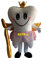 Wholesale Tooth Suit - Tooth Queen Mascot Costume Fancy Party Dress Suit Free Shipping