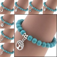 Wholesale cross bracelet cuff - Natural Stone Turquoise Bracelets Alloy Tree of Life Heart Cross Star Moon Anchor Charm Bracelet Bangle Cuff Buddha Jewelry Drop Shipping