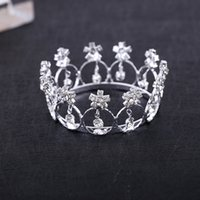 Wholesale Crown For Sale Baby - Hot Sale Tiaras Mini Crystal Rhinestone Round Circle Tiara Crown for Newborn - Baby Photo Prop Wholesale Hair Jewelry Accessories