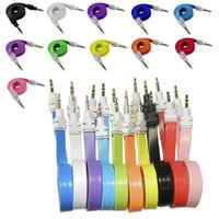 puces de nouilles achat en gros de-3.5mm grande nouille plate mâle à mâle audio stéréo voiture AUX câble auxiliaire câble cordon pour iphone 5 6 pour samsung mp3 pour pc casque haut-parleur