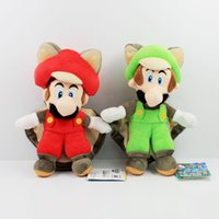 Wholesale Toy Squirrels For Kids - Wholesale- 22cm Super Mario Bros Plush Musasabi Flying Squirrel Mario Luigi Plush Toys Soft Stuffed Toys Figures Toy for Kids Gift
