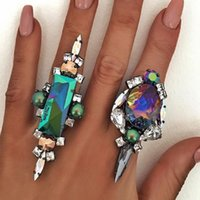 Wholesale Gun Rings For Women - Fashion Punk Crysatal Ring Men Exaggerated Party Gift Maxi Luxury Big Gem Vintage Open Gun Black Resin Rings for Women Jewelry Wholesale
