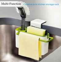 Wholesale Green Eco Walls - Fashion High Quality Multi-functional Creative Sink Kitchen Bathroom Storage Rack Strong Sucker Can store soap, brush, sponge and so on.