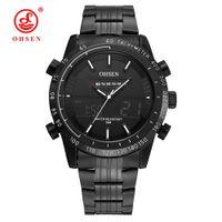 Wholesale water resistant watch analog alarm - Fashion Brand OHSEN Quartz Digital Male Alarm Watch Men Water Resistant Man Sports Clock Men Dual Time Display Analog Wristwatch