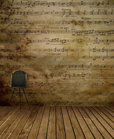 Wholesale background indoor painting resale online - 5x7ft Music Notes Wall Photography Backdrops Retro Vintage Wood Floor Indoor Children Backgrounds Kids Studio Decor Photo Wallpaper Props