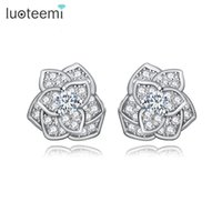 Wholesale fashion bijoux online - LUOTEEMI Brand Fashion Beautiful Crystal Bijoux for Women CZ Rose Flower Stud Earring Female Brincos Jewelry White Gold Color