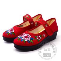 Wholesale Dance Shoes Square Toe - Appliques Shoes Elderly Cotton Fabric Square Dance Old Peking Unique Shoes Soft Leather Floral Shoes For Women Ethnic Slipsole