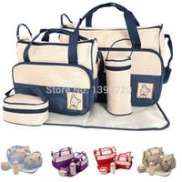 Wholesale Mummy Bag Set Pieces - 2016 Mother Infanticipate Mummy Babies Bags Nappy Bag Multifunctionaldouble-shoulder Cross-body 5 Piece Set Messenger Bag G0289