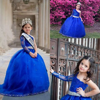 Wholesale One Shoulder Rhinestone Applique Dress - 2017 Girls Pageant Dresses One Shoulder Long Sleeves Lace Appliques Crystal Beaded Kids Flower Girls Dress Ball Gown Cheap Birthday Gowns